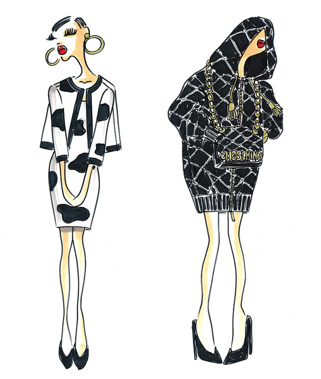 Jeremy Scott sketches from the Moschino