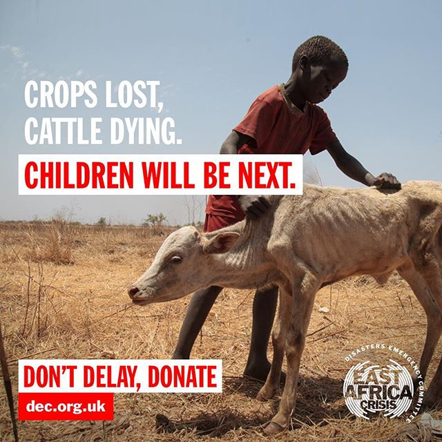 Across East Africa, 16 million people urgently need food & water and over 800,000 children under five are severely malnourished. Without immediate treatment, they are at risk of starving to death. I'm supporting the @disastersemergencycommittee's urgent call to help these people. Don't delay, donate - you can find the link in their bio.