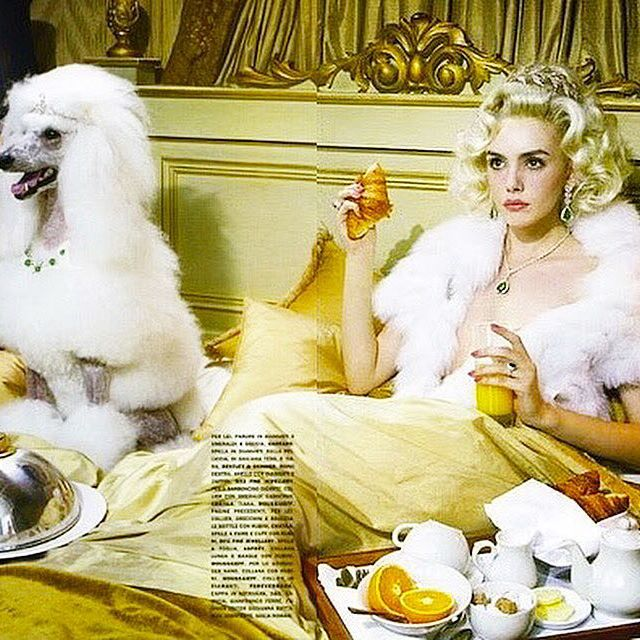 Breakfast  Celebrating the year of the Dog   My Editorial for Italian Vogue Vogue Gioiello 2011 shoot by @milesaldridge style by me they both wearing emerald necklaces #batgioatwork