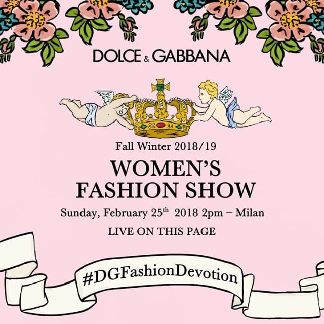 Are you ready? The Dolce&Gabbana Women's Fall Winter 2018/19 Fashion Show is approaching. Find out more soon!  #DGFashionDevotion #DGFW19 #mfw #DGWomen #DolceGabbana #FashionSinner #lamodaèbellezza
