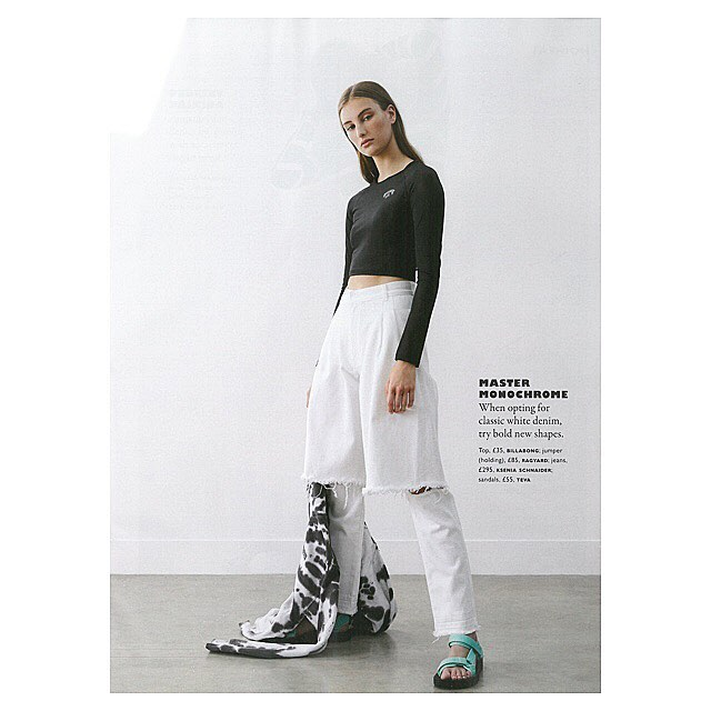 Bold new shape  - @graziauk featured white demi-denims   Jeans available at @theofficialselfridges @shopbop etc (find full stockists at kseniaschnaider.com)