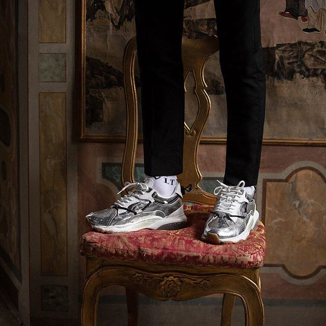 Taking the Valentino Garavani #Bounce to the next level in vibrant metallic. Discover the sneaker collection on Valentino.com and in boutiques. #HautePunk