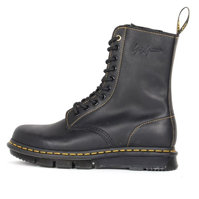 Yohji Yamamoto has given the classic Dr. Martens 1490 boot his personal touch, replete with signature gold stitching, a custom-molded rubber sole and of course, his signature embossed at the top. #wwdaccessories