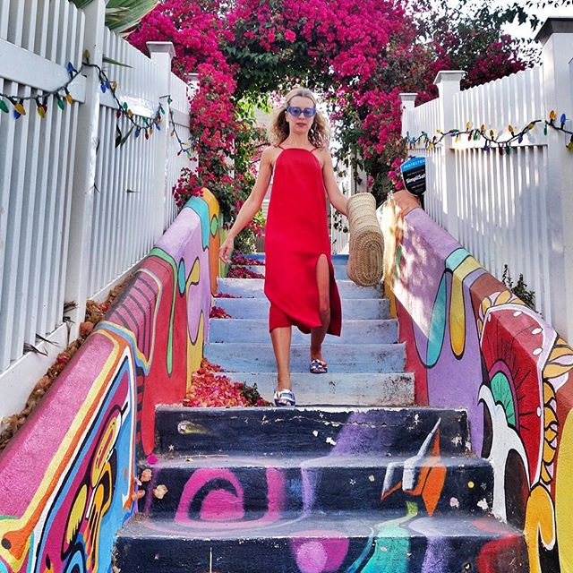 I don t think there s an elegant way to walk down a flight of stairs in flat sandals... Behold, my best attempt   #stairwaytoheaven #flowers #gateway #walkthisway #dork #vintage @karlaspetic #nataliejoos #focus #concentrate