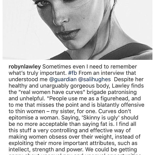 I ve been friends with @RobynLawley for a long time. We ve been at different agencies together over the years and now she s with us at @NomadMGMT_LA. She s a fantastic model, a wonderful mother and an all around inspiration to everyone who knows her.  I appreciated every word of her quote to the @guardian here, could not be prouder of this powerhouse!   #morewomenlikethisplease