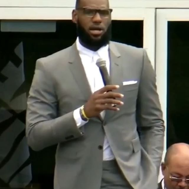 ... the man ... lebron james wears thom browne at the opening of the lebron james family foundation s  i promise  public school in akron, ohio  @kingjames @ipromiseschool @nbatv #thombrowne #ipromise #lebronjames
