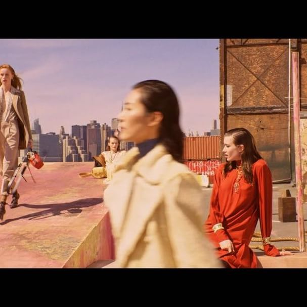 In the campaign film by #StevenMeisel, #ChloeGirls wearing @NRamsayLevi s #FW18 collection move confidently through an industrial setting, replacing each other in a free-spirited game of déjà-vu Models @SophieKoella, @RianneVanRompaey, @LiuWenLW, @HunkyBunky_, @Kris_Grikaite, @GraceHartzel Art direction by @MMParisDotCom, styled by @MaxPearmain, casting by @AshleyBrokaw, hair by @GuidoPalau and make-up by @PatMcGrathReal Pre-order now on chloe.com