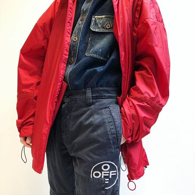 fw18 men s Off-White   Business Casual  collection. nylon windbreaker, denim shirt, embroidered chino pants at @off____white____tokyo