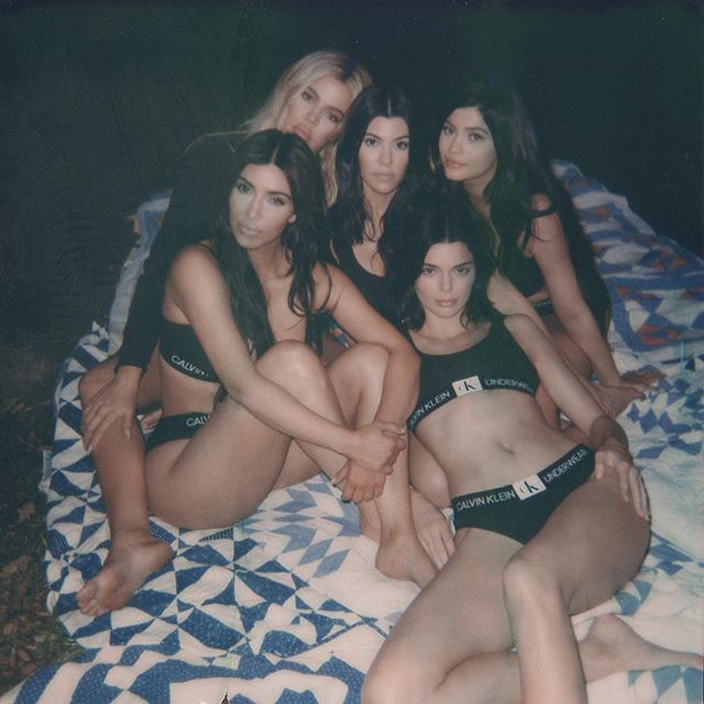 Family over everything: @kimkardashian, @khloekardashian, @kourtneykardash, @kyliejenner and @kendalljenner in the #Monogram collection from #CALVINKLEINUNDERWEAR on set of their latest #CALVINKLEIN campaign. Photographed by @marcushyde. #regram           Shop Monogram now and share yours. #MYCALVINS