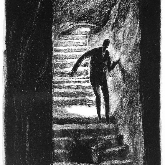 When you watch too many scary movies   or is it never too many?   Pictured here:  Der Weg ins Grauen (The Path to Horror),  Hugo Steiner-Prag, plate 12 from the portfolio Der Golem: Prager Phantasien (The Golem: Prague Fantasies), 1915 16. See it in  Fairy Tales and Fantasies,  on view in the Ahmanson building, level 2