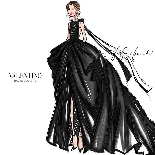 Sketch of the #ValentinoHauteCouture custom dress worn by #AlbaRohrwacher for the #GreenCarpetChallenge created using superior quality taffetas and organza both made of organic certified silk produced by two historical Italian textile manufacturers. All components come from renowned suppliers and have been reclaimed and tested to verify the absence of dangerous chemicals as per the most advanced standards. No new materials have been dyed nor produced to create this dress. #GCFAItalia