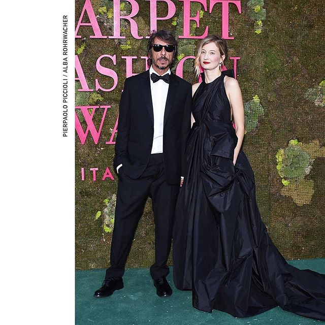 Creative Director @pppiccioli and #AlbaRohrwacher attending the second edition of the Green Carpet Fashion Awards held tonight at Teatro alla Scala, in Milan. #AlbaRohrwacher wears a custom evening dress named  Pureté  with a crossed front and a deep cleavage on the back masterfully crafted in Rome by the #ValentinoHauteCouture Atelier. The skilled hands of the seamstresses have worked for 370 hours using over 48 meters of fabric for the overlapping. #GCFAItalia