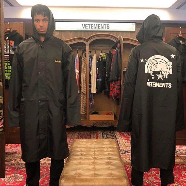 Vetements Exclusive Limited Edition Black Unicorn Raincoat