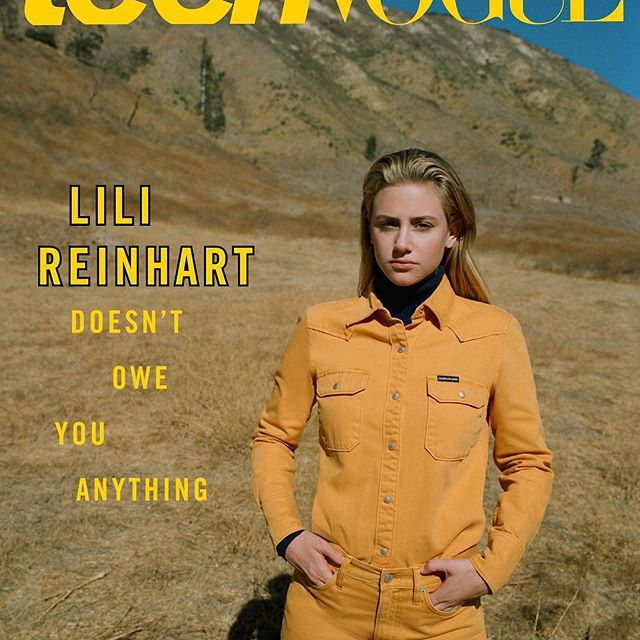 Cover charm: #Riverdale star @LiliReinhart, as featured in @teenvogue's October issue outfitted in our #western #denim uniform from the #Fall2018 #CALVINKLEINJEANS collection. Photographed by @msprouty; styled by @juliaehrlich. #regram  Together in Denim. #MYCALVINS