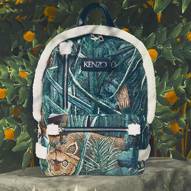 The Jacquard Backpack with luxe shearling detailing and a graphic print. La Collection Memento No.3 revives Takada s love affair with Rousseau s painted wilderness. Realized by @traum.inc #KENZOEditorials  #collectionmemento3