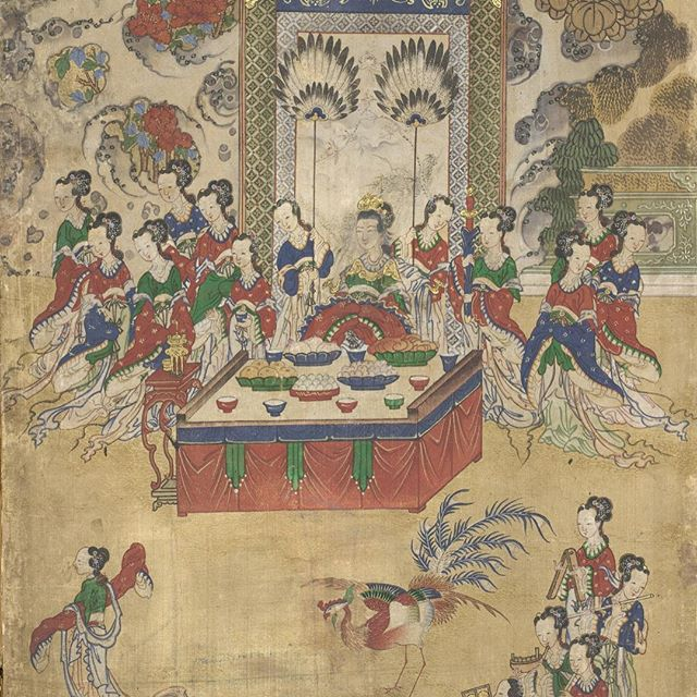 The Banquet of Seowangmo (Ch. Xiwangmu), Queen Mother of the West  is one of two folding screens on view depicting imaginary gatherings from Chinese legends. Seowangmo is holding a grand banquet that happened every three thousand years when the peach trees blossomed. Seowangmo is enthroned in the middle of the painting, amid ripened peaches. Music and dance are performed by Daoist fairies and phoenixes in front of the queen. These are just a couple of detail photos from the folding screen from Korea, Joseon dynasty. See it in the Hammer building, level 2