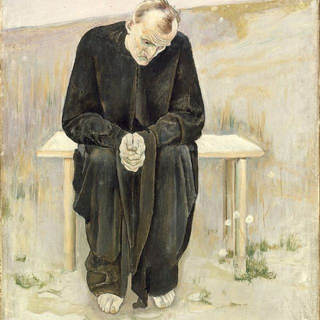 "TFW no one wants to watch scary movies with you...   Visit ""The Disillusioned One,"" Ferdinand Hodler, Switzerland, 1892 in the Ahmanson building, level 3."