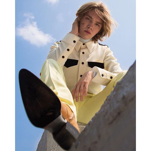 Breakthrough star. Actor @charliefplummer, as featured in @rollacoaster wearing a #Fall2018 #CALVINKLEIN #205W39NYC marching band look. Photographed by @karl_simone and styled by @briancoatsbc.