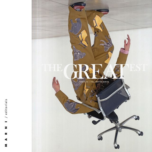 On the cover of @thegreatestmagazine #MarniFW18 suit with Frank Navin s prints #marnieditorials