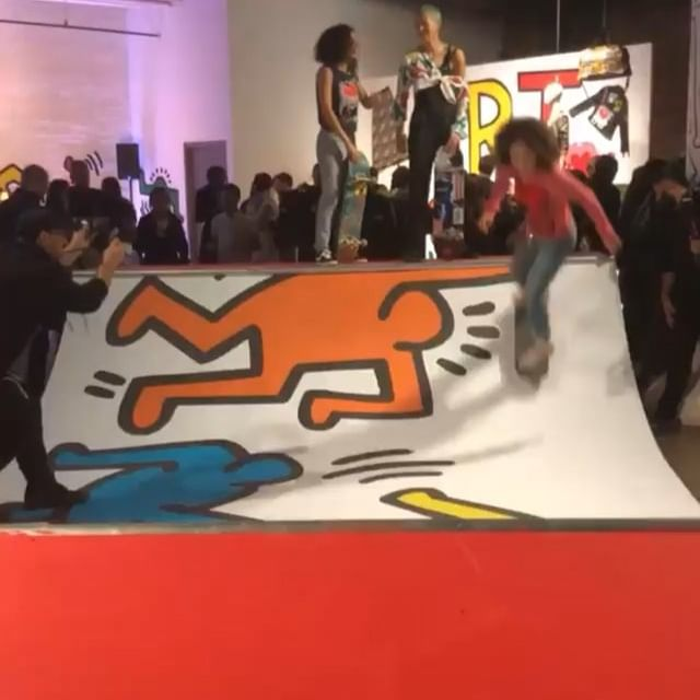 A skater showcases her skills at the launch party for the Keith Haring x Alice + Olivia collection in New York.  : @maxinesleep  #wwdeye #aliceandolivia  #keithharing
