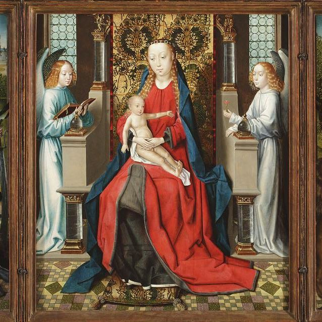 "Can you spot the #caturday highlight in this piece? Visit ""Triptych of Madonna and Child with Angels; Donor and His Patron Saint Peter Martyr; and Saint Jerome and His Lion,"" Master of the St. Lucy Legend, Holland, before 1483 in the Ahmanson building, level 3."