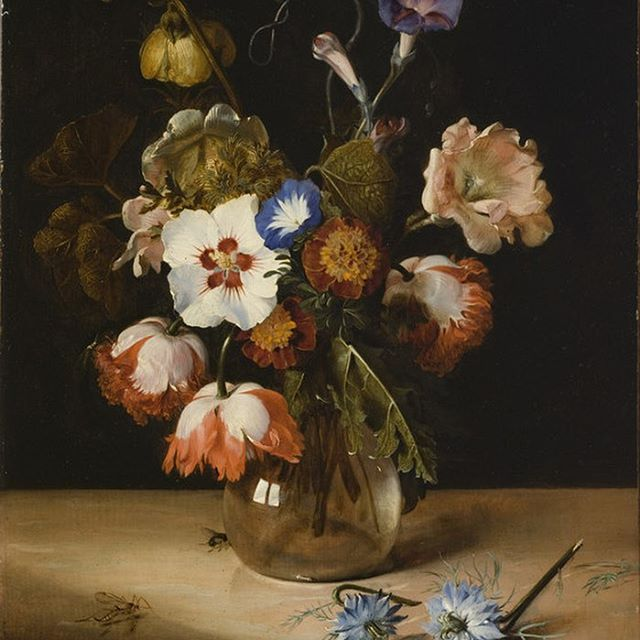 "Keeping many people in our thoughts after a difficult week. Pictured here: ""Flowers in a Glass Vase,"" Dirck de Bray, 1671."