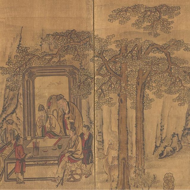 "This large screen depicts a famous Chinese theme: an ideal or imaginary meeting between the leading scholars and statesmen of China's Song dynasty (960-1279). Here are just a few details from the piece.   Various figures in Chinese scholars' robes are engaged in painting, calligraphy, poetry, and music.   The subject was popular during the late Joseon dynasty in Korea, where it was adapted to a screen format.     Visit ""Elegant Gathering in the Western Garden,"" Korea, Joseon dynasty in the Hammer building, level 2."