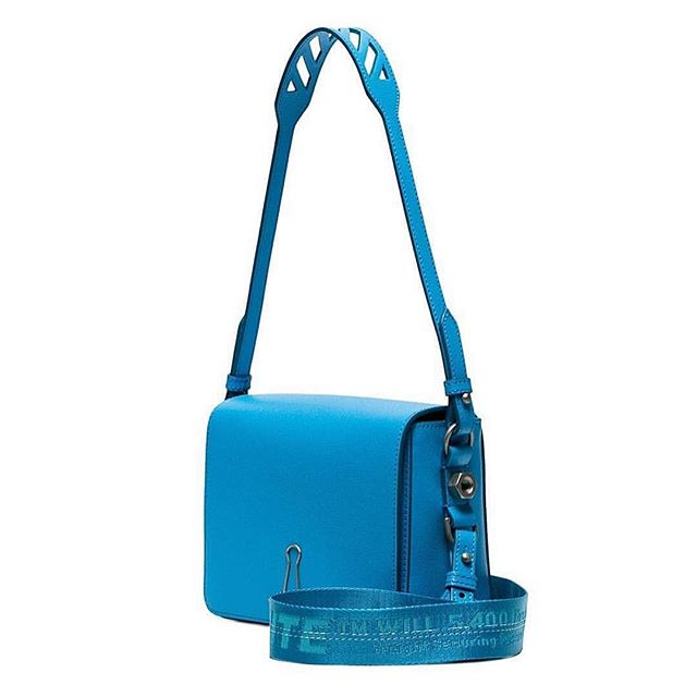 Off-White   binder clip  handbag in saffiano leather. made in italy.