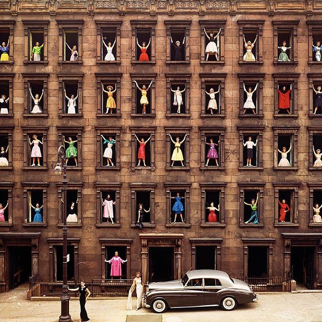 "Hello Monday!! . Picture by Ormond Gigli  The stunning shot is of a brownstone that stood empty across from his own home on East 58th street in 1960s New York. The old building was scheduled for demolition the next day to make way for modern developments. So Gigli, with his keen freelance photographer's eye, had the idea ""to get beautiful women"". Well, can't go wrong with that, right? After calling a modelling agency, dozens of beautiful women did indeed materialize, wearing different brightly colored dresses. Of the piece, TIME says, ""Widely considered one of the most famous fashion shots of the 1960s, it captures a slice of long-gone New York ...and the picture's influence stretches beyond photography."" #gio_graphyseries"