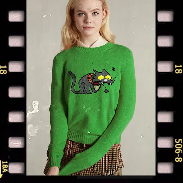 @ellefanning adds a bit of mischief to her look with The Simpson s Snowball II. New Shetland wool sweaters from the #MiuMiu Little Cats capsule collection now available at miumiu.com.