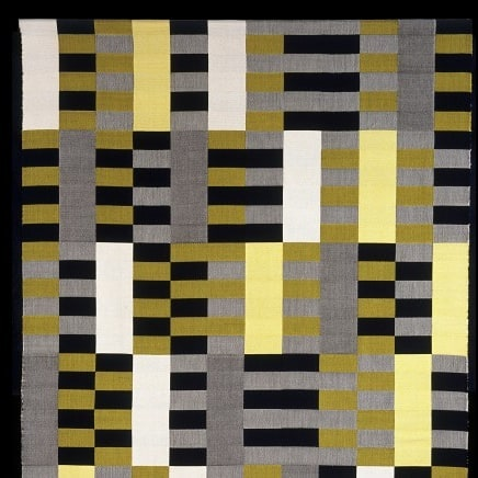 This is Black White Yellow (1926) by German textile artist Anni Albers. Famed for her abstract geometric innovation, Albers was one of the most influential artists to come out of the Bauhaus Design school.  Journey back to the 20's and 30's, the birth of modernity with our course Modernist Pioneers, and meet the innovators from this seminal design period.. link in bio!