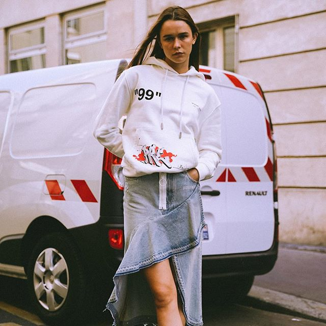 resort 19 men s & women s Off-White  Dondi White hoodie, denim skirt & sneakers. first delivery to @off___white__paris