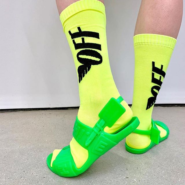 Off-White  industrial  zip-tie  sandals and graphic neon socks at @em___pty___gallery