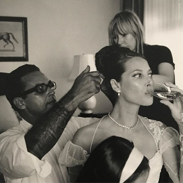 Oribe (& Judy) putting the final touches on me before my wedding.   @pamela_hanson San Francisco 2003
