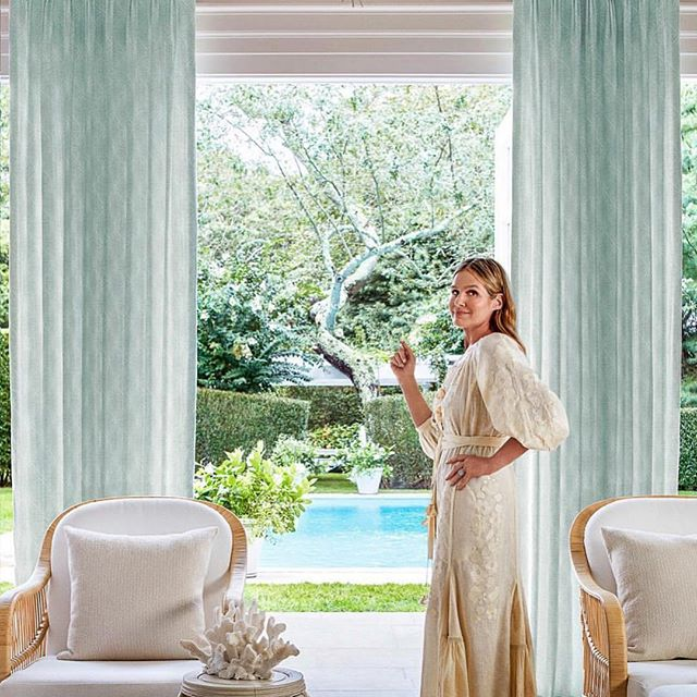 The lovely @aerin showing off her home to @archdigest magazine while wearing our Garden embroidery dress.  Via @archdigest  #originalvitakin #folknouveau #vitakin