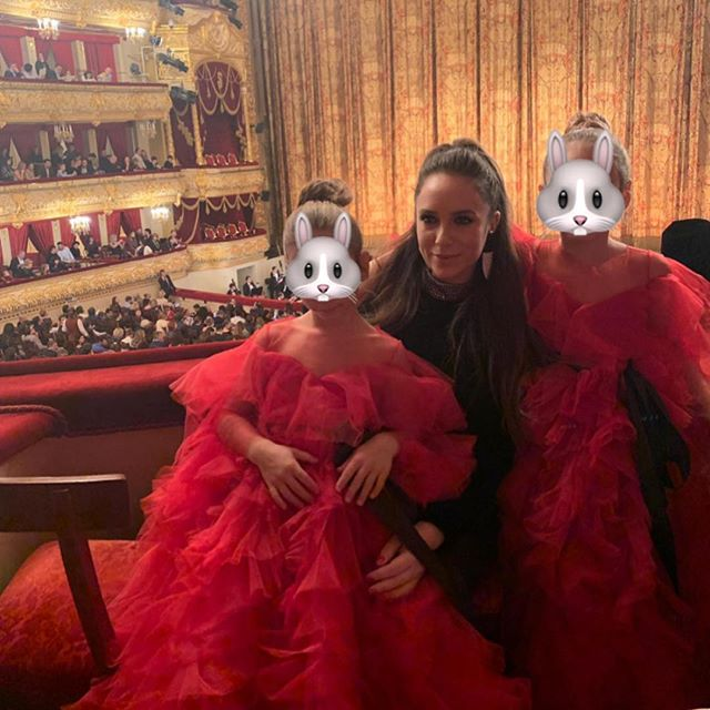 I know it s ridiculous to put little bunny rabbit faces on my girls, but I so much want to put up this photo of us at the Bolshoi Theatre watching  The Nutcracker . Thank you to @sashakimofficial for the perfect dresses      Просто волшебный вечер в Большом Театре с моими девочками.  Море впечатлений!       .