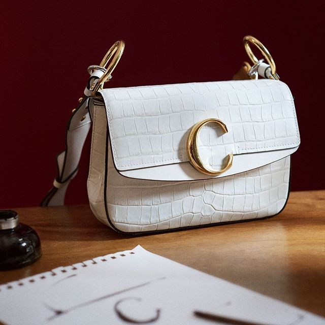The Chloé C in white croco embossed calfskin: a bag to carry and a collectible to keep #chloeGIRLS