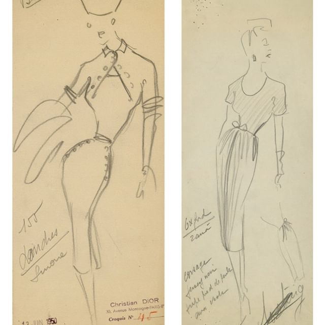 Christian Dior s original design sketches feature his memorable 1950 s waists and sophisticated mid length skirts which defined the House of @dior's effortlessly beautiful fashion.  See them in #DiorDesignerofDreams opening February 2019   link in bio #Illustration #Sketch #Designer #Fashion