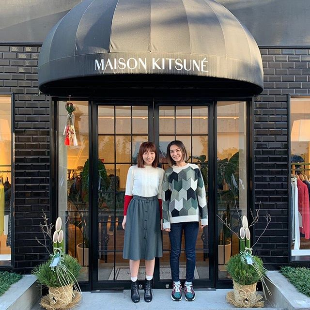 Misayo & Eri from Maison Kitsuné Aoyama are wishing you a nice sunday          Located in Aoyama also called the   Blue Mountain   neighborhood, our flagship store in Tokyo offers a spacious and luxurious interior design with traditional Japanese features and classic Maison Kitsuné stores western attributes. If you wanna have a cool break, the boutique is at one minute walk from the @cafekitsune Aoyama which makes it easy for relaxing and shopping at the same time.
