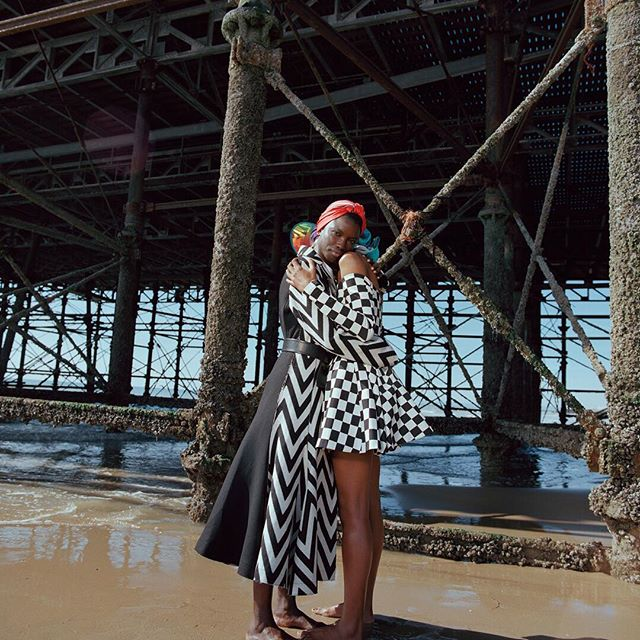 .    .    .    Photography @nadineijewere    Styling @bojana_koz    @wayne_1_  wears coat @loewe. Belt @garethpughstudio. Scarf @hermes. @nayaoliveiras wears dress Versus. Hat @area.