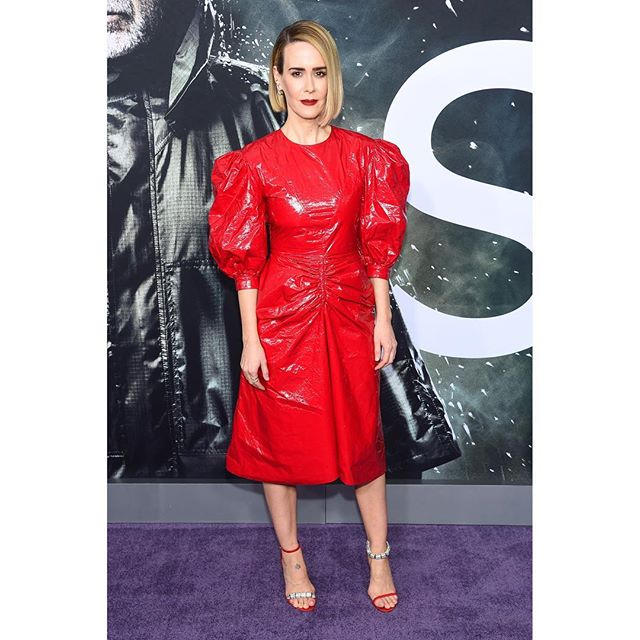 Red alert   the one and only, @mssarahcatharinepaulson in our #PreFall2019 #205W39NYC balloon sleeve Tyvek dress and sandals for tonight s @glassmovie premiere in #NYC. #CALVINKLEIN