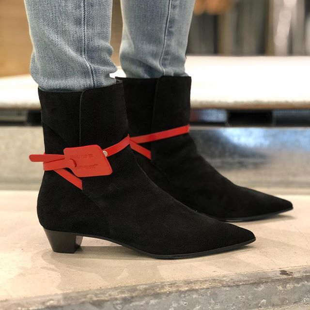 women s Off-White   zip-tie  suede boot.