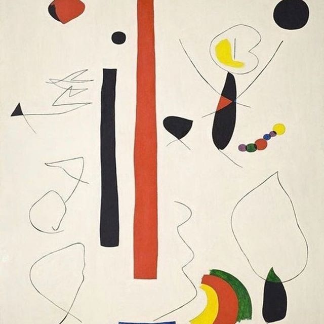 Seeing surreal abstraction in an expressive color palette, but also maybe someone deciding whether to wear two silk scarves with their multicolor glass bead necklace and bowler hat. Hbu? (  by Joan Miró,  Animated Forms,  1935)