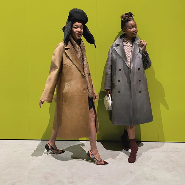 Sundays were made for friends. Two girls in coats lovingly made by team @prada. @museummammy