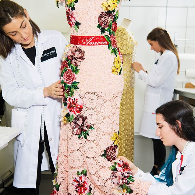 "Students from the ""Botteghe di Mestiere"", Dolce&Gabbana's tailoring school dedicated to training young apprentice's into master craftsman, giving young talents the opportunity to build their passions. Picture by Jason Lloyd-Evans, used in the ""Buone Notizie"" insert of Corriere della Sera. #DGFattoAMano #DolceGabbana"