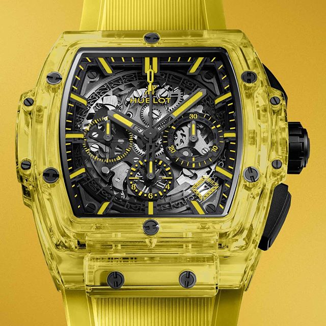 HUBLOT   GENEVA DAYS  Since 2016, @Hublot has been a pioneer in shaping and colouring sapphire. After transparent, smoked black, blue and red sapphires, Hublot continues its colorimetric quest with yellow.  The Spirit of Big Bang Yellow Sapphire is energising, luminous and brilliant.  _ #Hublot #HublotGenevaDays #GenevaDays #SpiritOfBigBang #LVMH