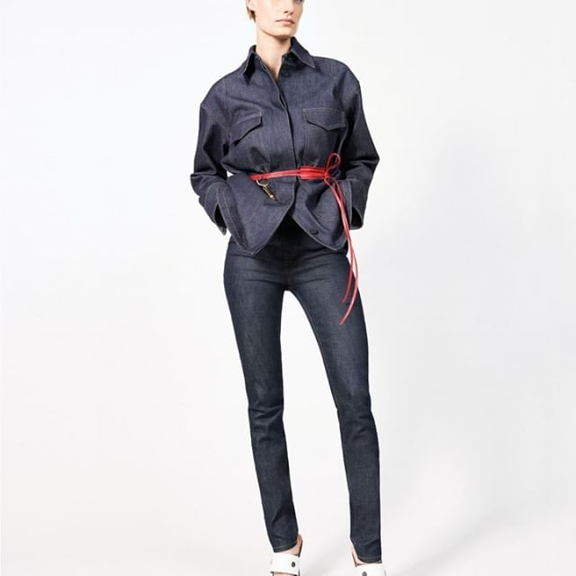 Double denim from #VBPreSS19, styled with a minimal bright red belt. Discover at the link in bio or at #VBDoverSt x VB