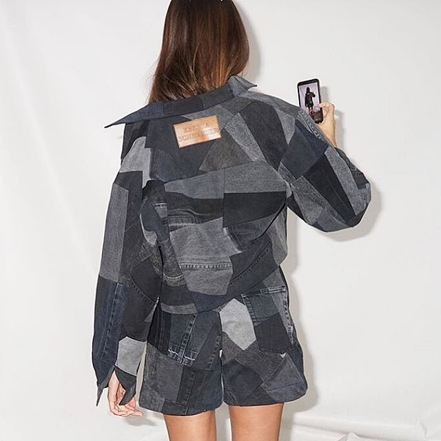 Jacket & shorts made of denim leftovers    on @alinaboi    #selfielookbook #reworkeddenim #kseniaschnaider #prefall2019