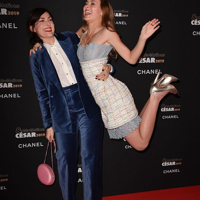 Lily-Rose Depp gets some airtime on the red carpet with  director Rebecca Zlotowski at the Révélations event in Paris. . . . . #wwdeye #lilyrosedepp