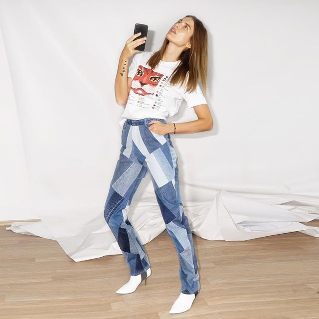 Selfie-lookbook by @nataliiagotsii    wearing patchwork jeans and cat tee from PF2019 collection #kseniaschnaider